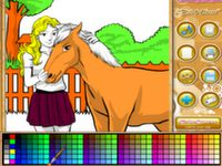 Pferd und Mädchen Anmalen